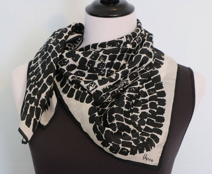 Vintage Vera Neumann Silk Scarf, Black and White Scarf, Square Scarf, Vera Scarf, Head Scarf Hair Wrap, Neck Scarf Head Scarf Chemo by SecondActShop on Etsy