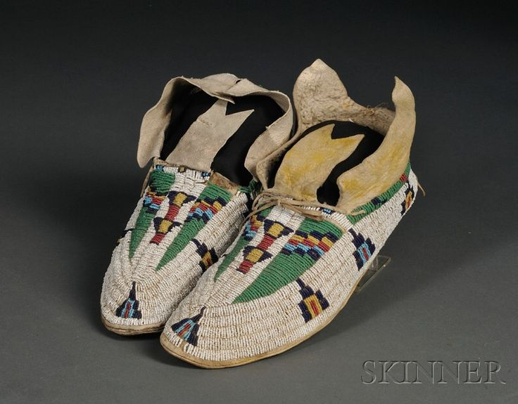 Central Plains Beaded Hide Moccasins Cheyenne late 19th century