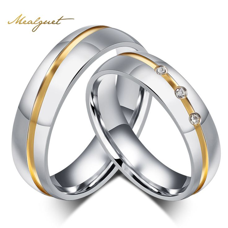 Meaeguet Fashion Men Women Wedding Rings Wholesale AAA CZ Stone Rings For Women And Men Stainless Steel Finger Rings