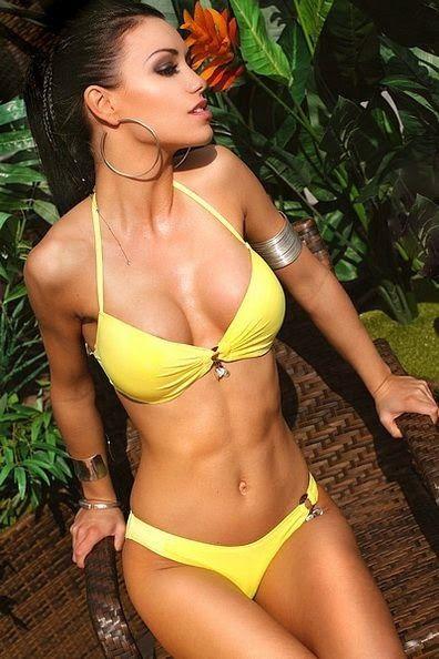 Dem Hot: Sexy Brunette Bikini Model Looking Hot In Yellow S...