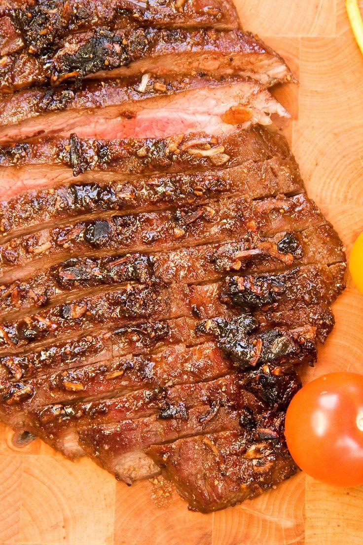Recipe including course(s): Entrée; and ingredients: chili powder, extra-virgin olive oil, flank steak, kosher salt, light brown sugar, lime, paprika