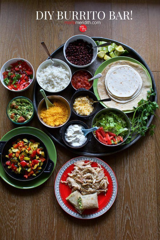 DIY Burrito Bar for Cinco de Mayo, family meals and any kind of entertaining! MarlaMeridith.com ( @marlameridith )