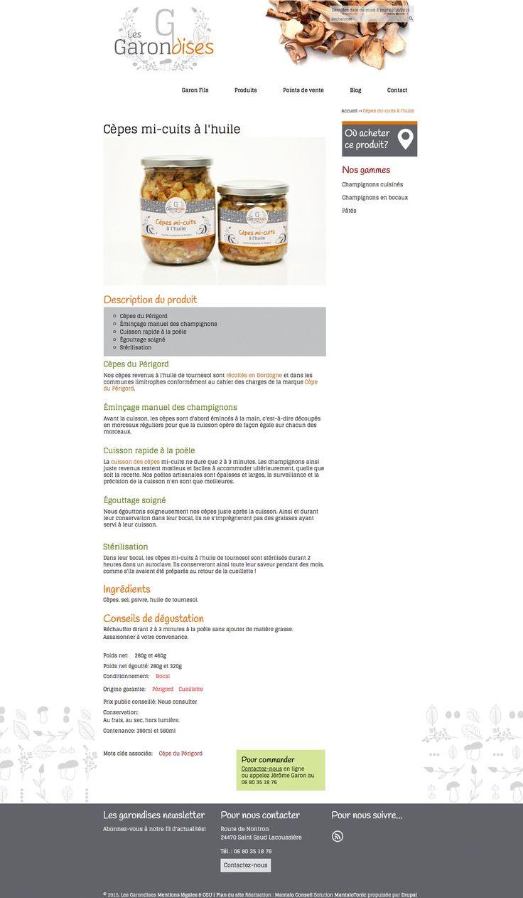 Intérieur du site Les Garondises - www.les-garondises.fr - #site #web #champignons #périgord #design