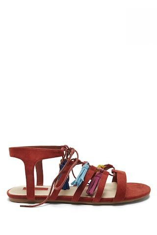Faux Suede Tasseled Sandals - Shoes - 2000268333 - Forever 21 EU English