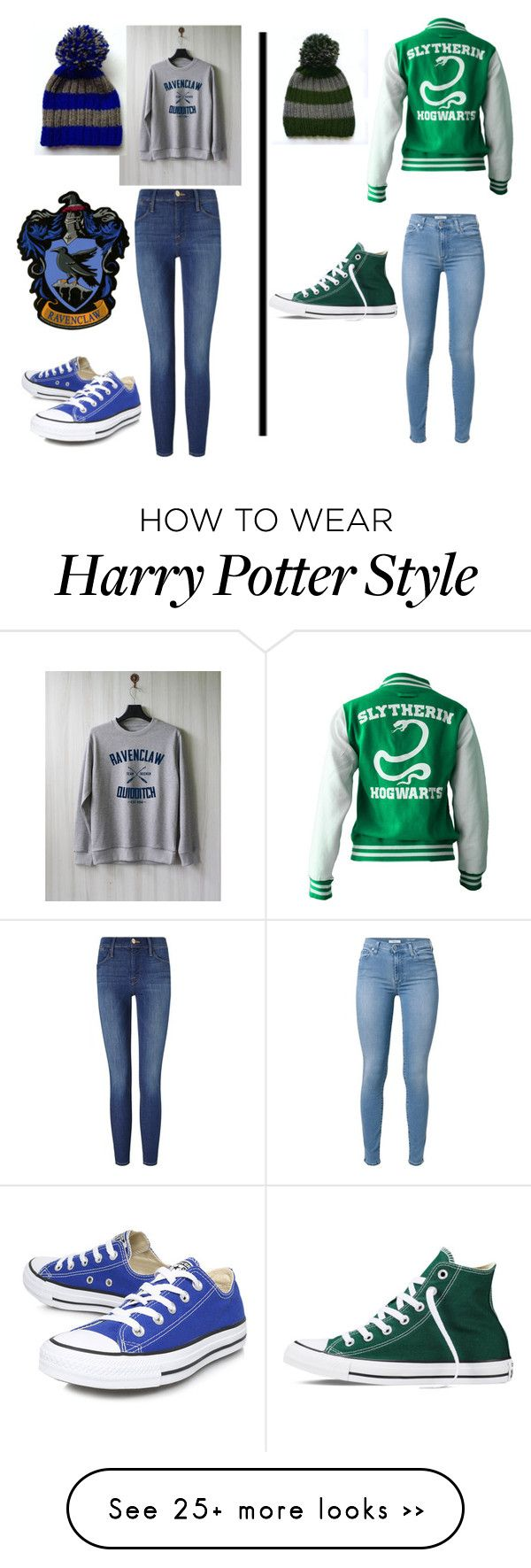 """Which house will you go to?"" by cdoggg on Polyvore featuring Frame Denim, 7 For All Mankind and Converse"