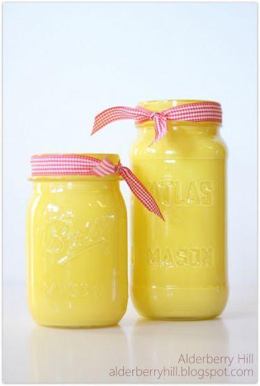 spray painted mason jar with ribbon