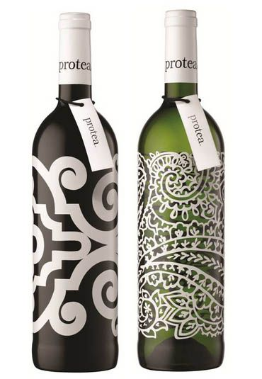 great patterns on this minimalist wine packaging