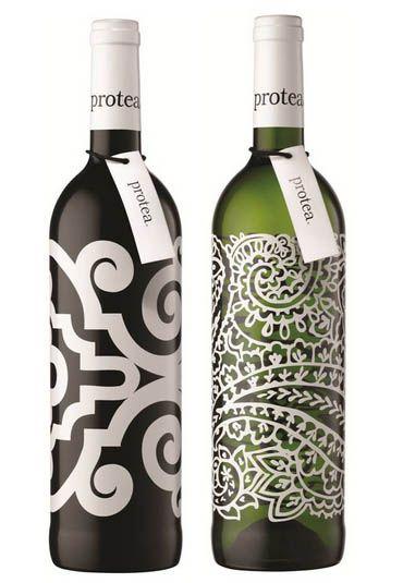 Embalagem minimalista para garrafas de vinho