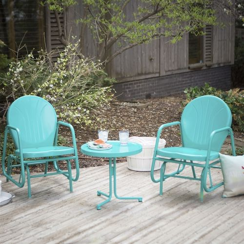 ***FREE SHIPPING***This Outdoor 3-Piece Retro Turquoise Blue Patio Furniture Glider Chair Set with Side Table is durable, adorable, and oh-so fun to sit in. The glider bases on this pair of chairs of