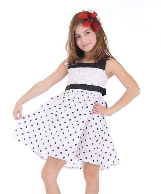 Dolce Liya Black & White Polka Dot Eyelet Dress - Girls   zulily