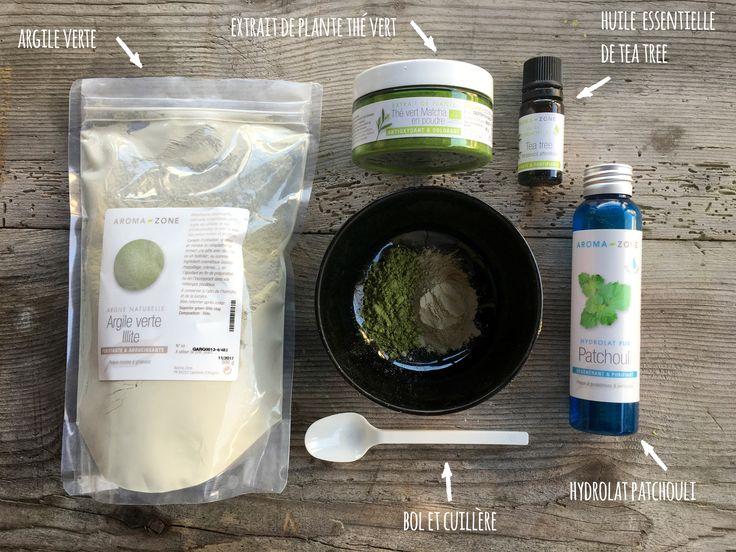Recette du masque pour peaux grasses et acnéiques à l'argile verte et au thé matcha en poudre.