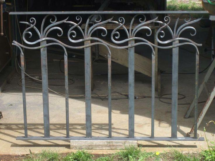Workshop photo of wrought iron balcony railing designed for Art Deco house rebuild