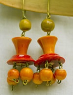 Brightly coloured and stylish, wood and Lacquer ear drops