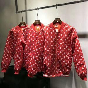 17AW シュプリーム/SUPREME lv モノグラムボンバージャケット 赤と黒色 ブランドシュプリームジャケット モノグラム ヴィトン服 ジャンパー ファッション スーパーブランド 激安 メンズ セール