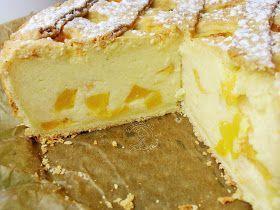 ciasto z kaszy manny z brzoskwiniami, brzoskwiniowe, kasza manna, kruche ciasto, sernik, serniczek, z manną,