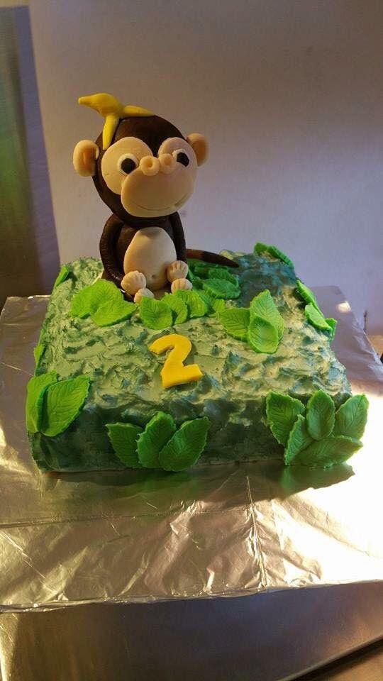 Jungle Monkey 2nd Birthday Cake