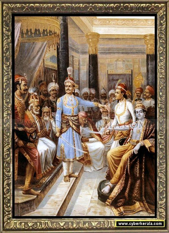 Sri Krishna as Envoy - 2-by Raja Ravi Verma