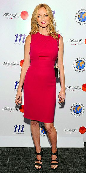 HEATHER GRAHAM  In a hot pink sheath and lacy sandals, the star makes a bold entrance at a Cambodian Children's Fund event in N.Y.C.