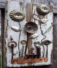 flowers on chippy board using molds & spoons: Tin Flowers, Craft, Garden Art, Art Flower, Yard Art, Outdoor, Junk Art, Tart Tin