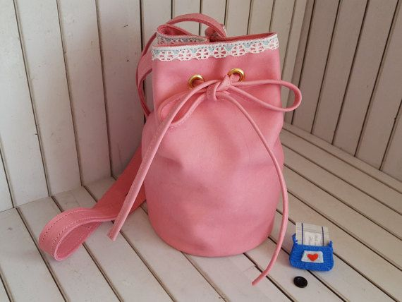 Mini Bucket bag Pink leather bag with lace by HideAndChicHandbags