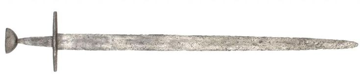 Type XII, 12th century.  Measurements: overall length - 95 cm , blade length - 81 cm, width of the blade at the base - 4.4 cm  The sword has a double-edged blade with a fuller that extends ¾ on the length of the blade. Extremely interesting in this sword is the pommel which was not formally included in the Oakeshott typology. It recalls the N type and at the same time an inverted type A. In his book, Records of the Medieval Sword, Oakeshott publishes two similar swords with very similar…
