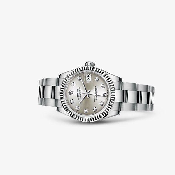Entdecken Sie die Datejust 31 Uhr in Rolesor weiß (Kombination aus Edelstahl904L und 18KaratWeißgold) auf der offiziellen Website von Rolex. Modell: 178274