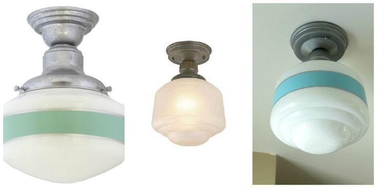 DIY schoolhouse light. Original on left, Home Depot version center, DIY on right. Amazing!