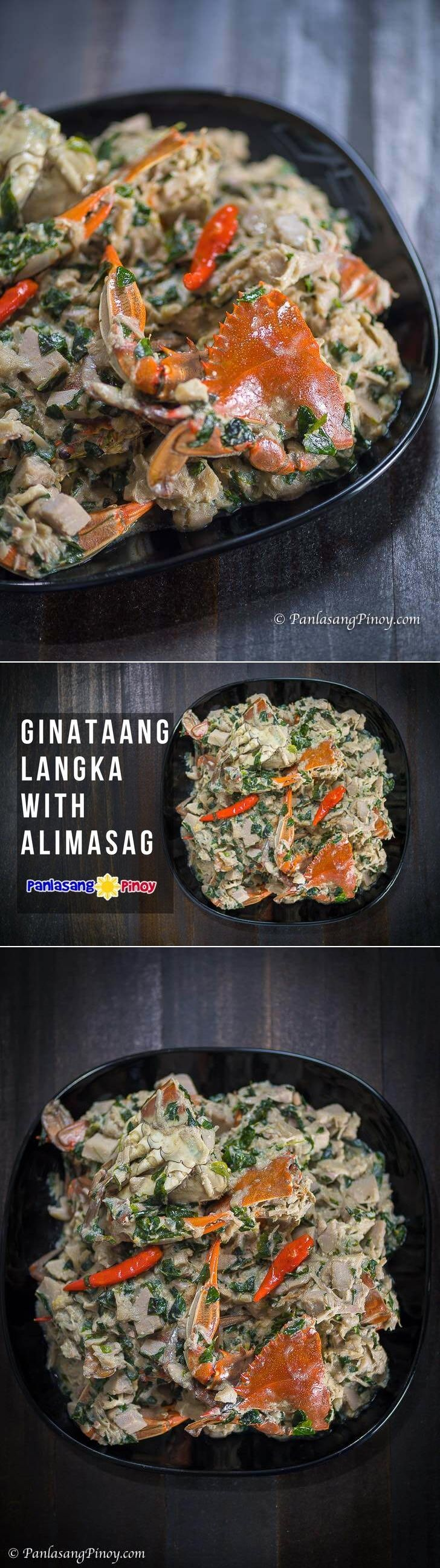 Ginataang langka with alimasag is a dish composed of young (unripe) jackfruit, blue crabs, and gata. The jackfruit is sautéed in garlic, onion, and ginger and then cooked with coconut milk. Crabs and malunggay leaves are added in the middle of the cooking process.