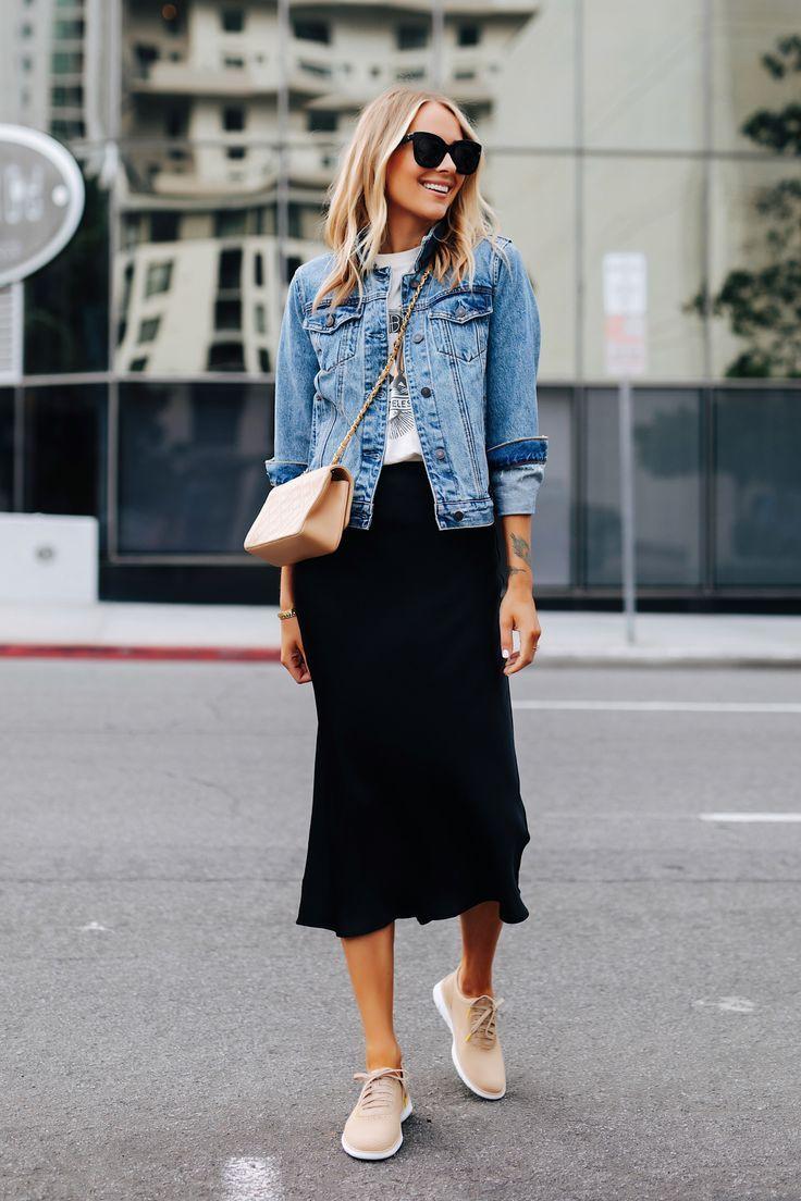 Fashion Jackson Wearing Denim Jacket Graphic Tshirt Black Slip Midi Skirt Tan Sneakers Tan Chanel Handbag 1 Everyday Outfits Fashion Jackson Fashion [ 1104 x 736 Pixel ]