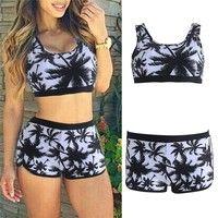 Wish   Sexy Women Crop Tops High Waist Shorts Floral Bikini Set Beach Swimwear Swimsuit WHI