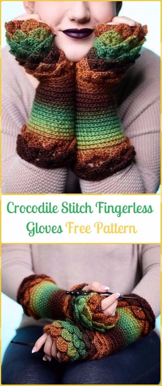 Crochet Crocodile Stitch Fingerless Gloves Free Pattern - Crochet Dragon Scale Crocodile Stitch Gloves Patterns