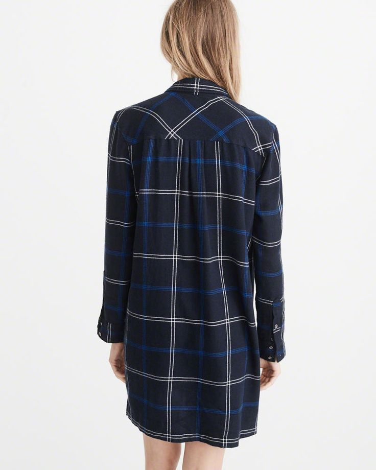 A&F Women's Half-Zip Plaid Shirt Dress in Navy Blue - Size XS Petite