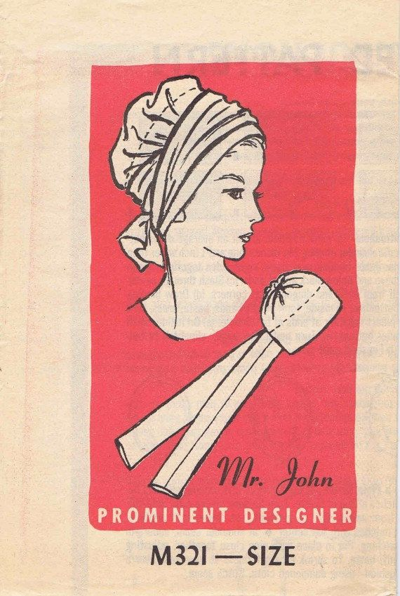Scarf Hat Pattern 1960s Prominent Designer Mr John by patternshop, $24.99