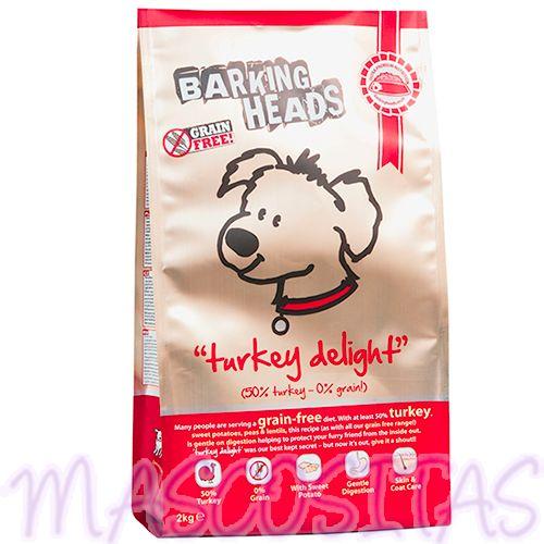 Barking Heads Turkey Delight Grain Free. Es un alimento completo y equilibrado con un 50% de pavo, es libre de cereales, ya que son más difíciles de digerir.