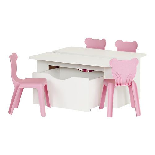 In the living room, the bedroom or the family room, create an incredible playroom for your children with this activity table! Open on 2 sides, it's ideal for 2 kids to sit down for arts and crafts. Toy box on wheels and 4 plastic chairs included.<br><br>The South Shore Furniture Crea Kids Activity Table and 4 Plastic Chairs Set - Pure White/Pink Features:<br><ul><li>Includes a Kids Activity Table with Toy Box on Wheels and 4 Kids Plastic Stacking Chairs&...