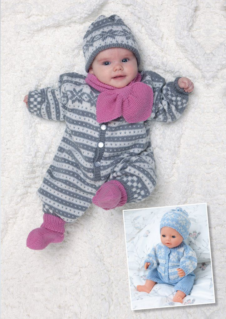Newborn storlek babyoverall stickad i Viking baby ull