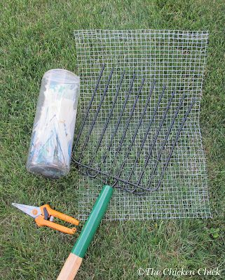 Make a litter scoop for sand bedding with hardware cloth and a garden rake.  The Chicken Chick: Chicken Coop Bedding: Sand, the Litter Superstar