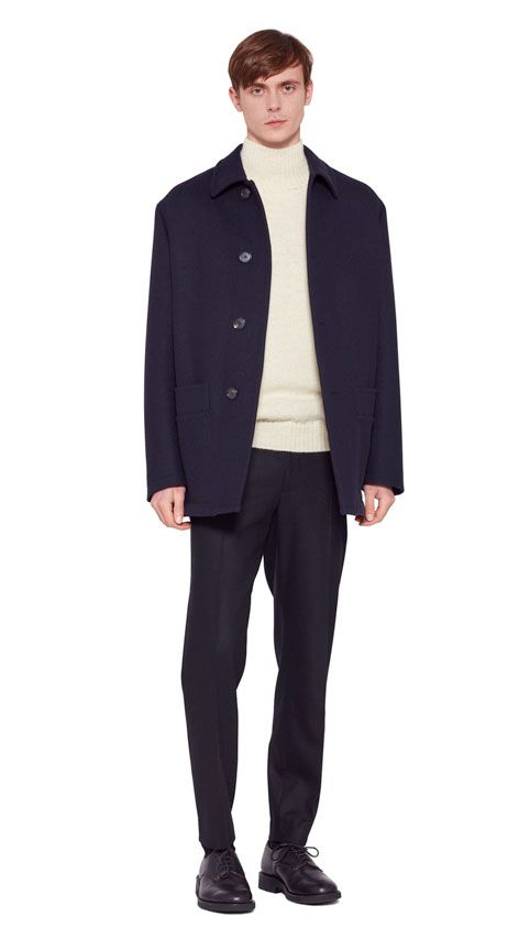 AUTUMN WINTER 2016 COLLECTION -   DARK NAVY HEAVY FELTED WOOL SHEEPSKIN LINED COAT,  ECRU BRITISH WOOL MHL SADDLE SLEEVE ROLL NECK,  BLACK FLANNEL SOFT NARROW TROUSER,  BLACK MATT LEATHER CREPE SOLE DERBY