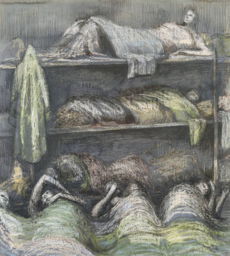 Shelter Henry Moore OM, CH  Shelter Scene: Bunks and Sleepers 1941  Watercolour, gouache and drawing on paper  support: 483 x 432 mm frame: 750 x 690 x 28 mm  Presented by the War Artists Advisory Committee 1946