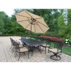 Oakland Living Cast Aluminum 11-Piece Rectangular Patio Dining Set with SpunPoly Beige Cushions and Umbrella