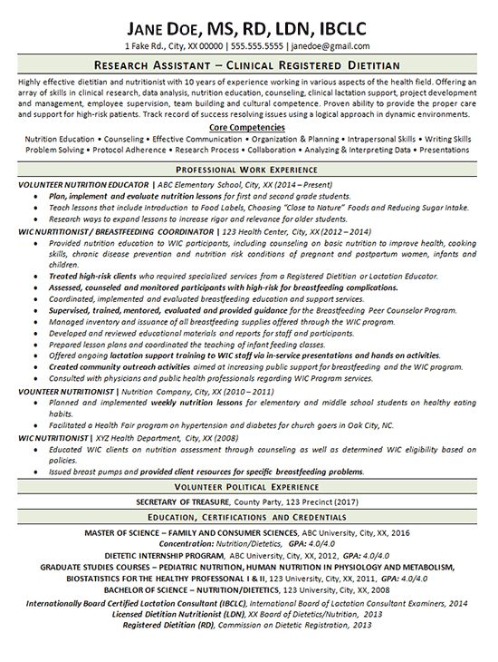 This resume was created for a client that had served as a Clinical Registered Dietitian, Nutritionist and Research Assistant. The job seeker didn't feel their employment history was utilizing their knowledge base to its full potential. For this reason, the job seeker bounced around a little bit b