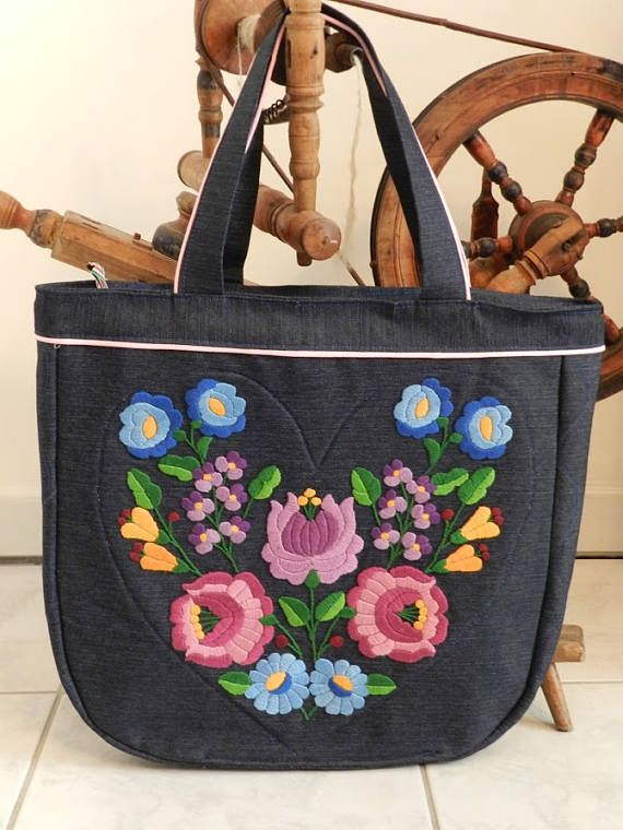 Reserved+for+amywsng+Kalocsa+embroidered+denim+bag