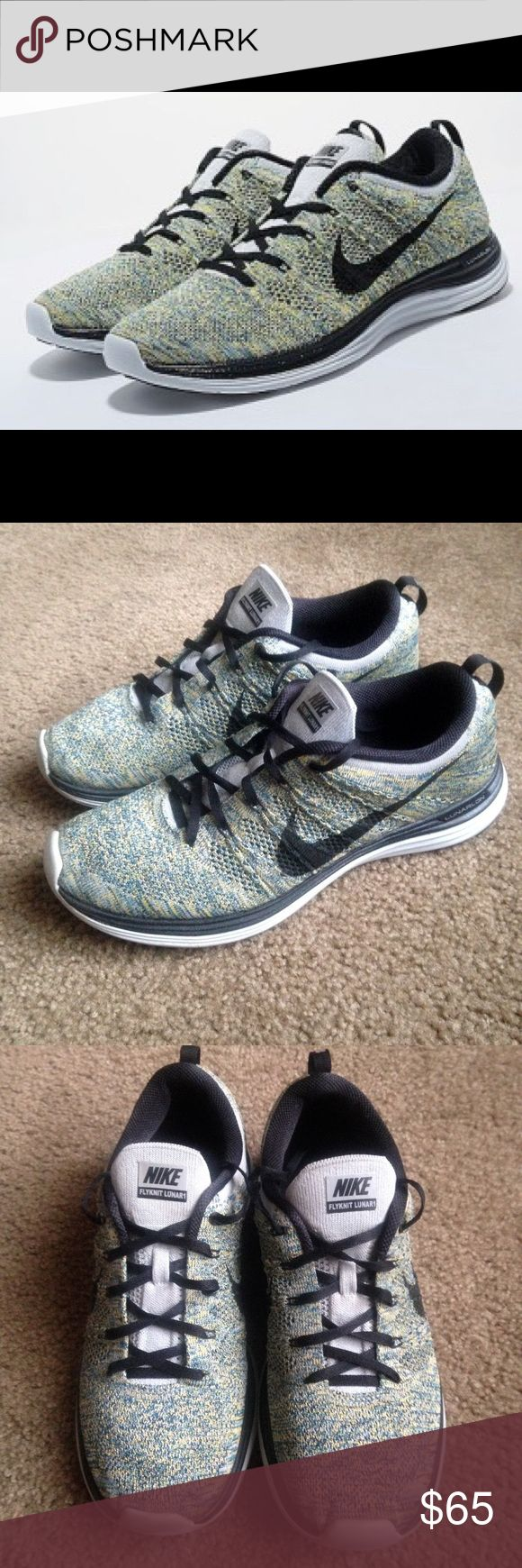 Mens Size 9.5 Nike Flyknit Lunar 1 Shoes And excellent preowned condition Mens Size 9.5 Nike Flyknit Lunar 1 Shoes have been worn but still has TONS of life left. Perfect for running or casual use Nike Shoes