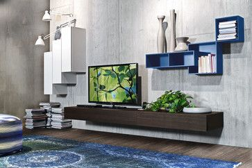 TV wall cabinet by ZANETTE lacquered finish. Available at Archisesto. CASABLANCA / Arrangement A 202 W 367.5 D 52 H 165 Wall-hung base units in heat-treated oak, wall units in matt white 008 lacquer, square open units in matt overseas 171 lacquer. Optional dock station.