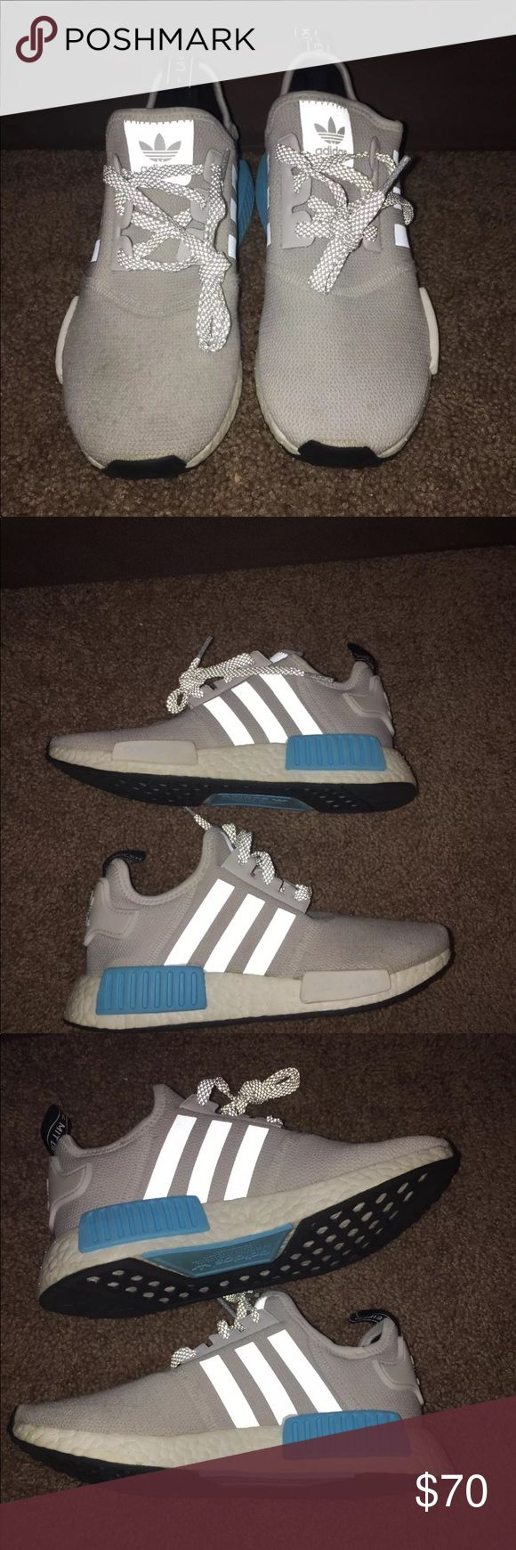 """Adidas NMD Primeknit Boost Pre owned worn a few times . If you are a nmd collector you know the shoes are partially made of a knit material so some """"fuzzing """" may occur . The front has some but can easily be removed and is barely visible (see pic). The box will not come with shoes . Feel free to ask me any questions. Womens 5.5 . Men's 4.5 adidas Shoes Sneakers"""