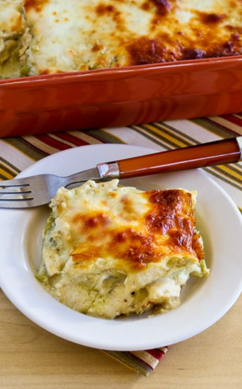 Green Chile and Chicken Mock Enchilada Casserole (Low-Carb, Gluten-Free) [from KalynsKitchen.com]