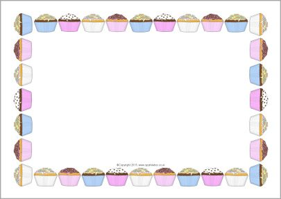 Cupcakes A4 Page Borders Sb9846 Sparklebox Page