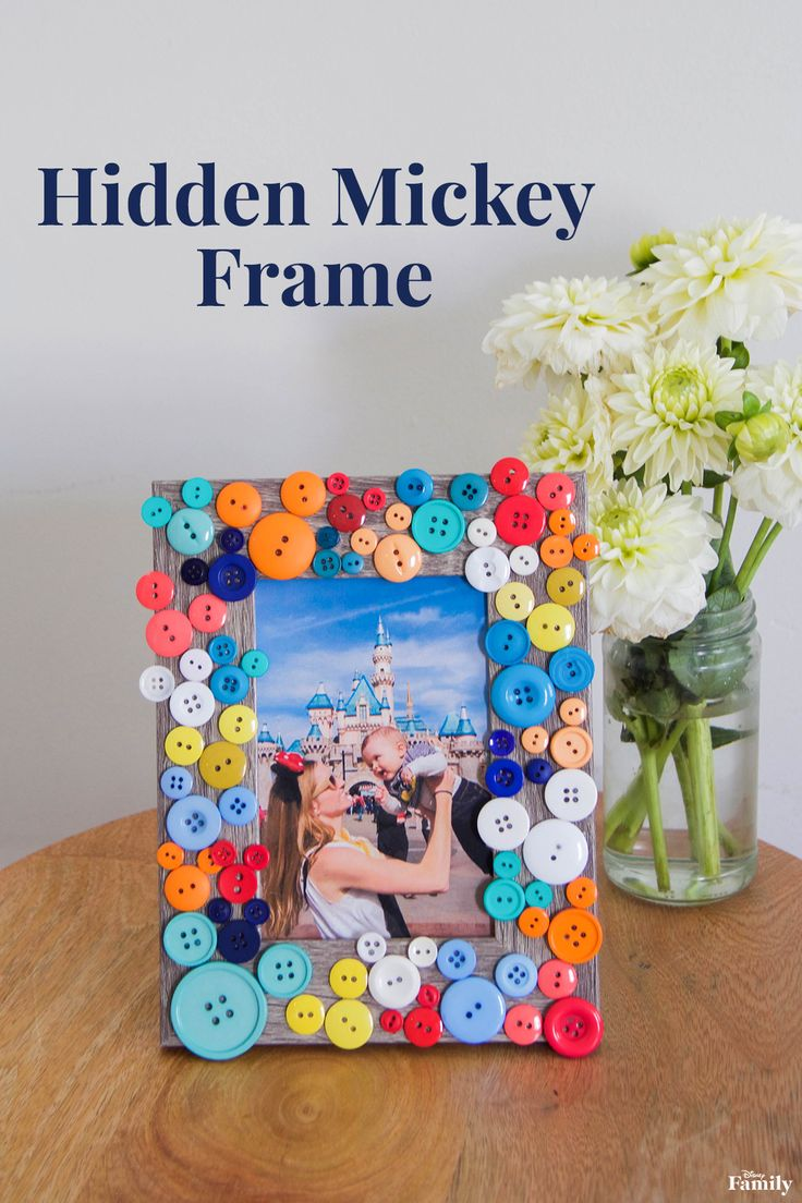 This subtle nod to Mickey Mouse will brighten any room in your house. Plus, it's one of the easiest crafts around. To make this Hidden Mickey Frame, just glue on buttons — grouping them by color — and you're done. A win-win!