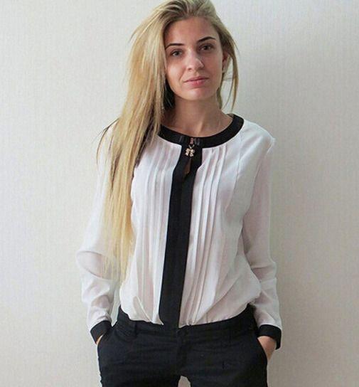 Women's Fashion Round Neck Chiffon Shirt Long Sleeve Fold Chiffon Shirt