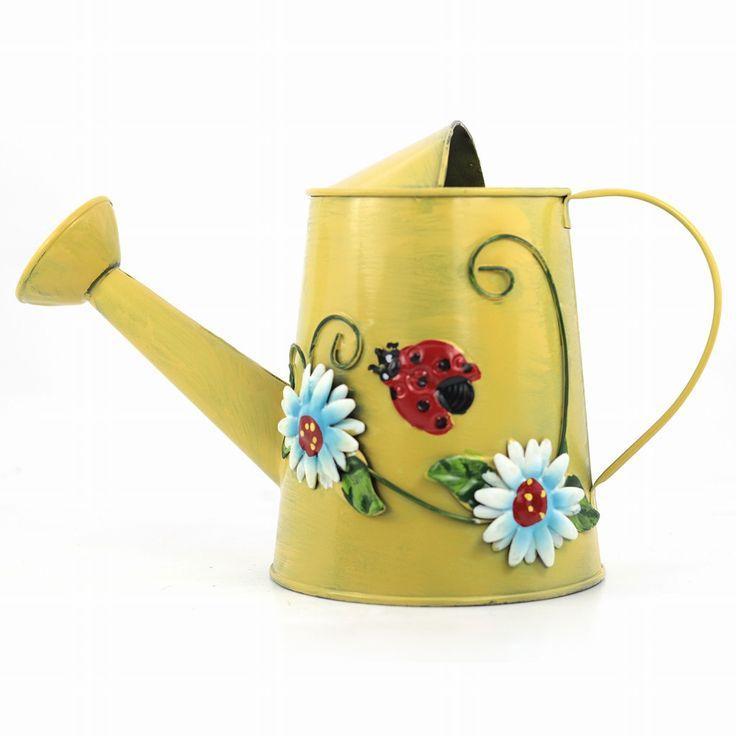 Decotown Metal Çiçek Desenli Sarı Sulama Kabı